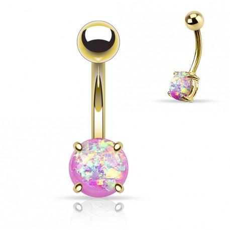 Piercing nombril doré avec opale violette sertie Dyko NOM044