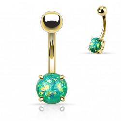 Piercing nombril doré avec opale verte sertie Xaqe NOM044
