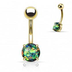 Piercing nombril doré avec opale vert foncé sertie Dolk NOM044