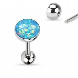 Piercing langue boule avec opale bleu aqua Top LAN008