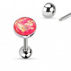 Piercing langue boule avec opale rose Tyk