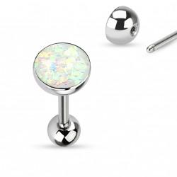 Piercing langue boule avec opale blanche Xom LAN008