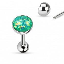 Piercing langue boule avec opale verte Xok LAN008