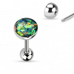 Piercing langue boule avec opale vert foncé Xyhu LAN008