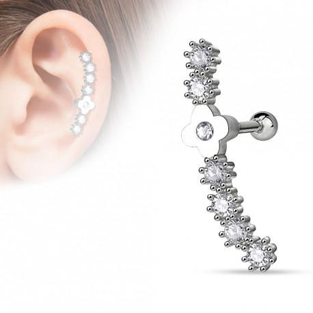 Piercing hélix acier pendentif zircon coeur