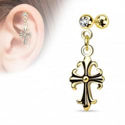 Piercing hélix cartilage avec une croix plaqué or Lox HEL033