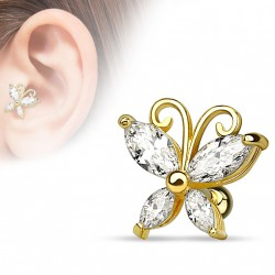 Piercing cartilage doré avec un papillon en zirconium blanc Xaqe TRA084
