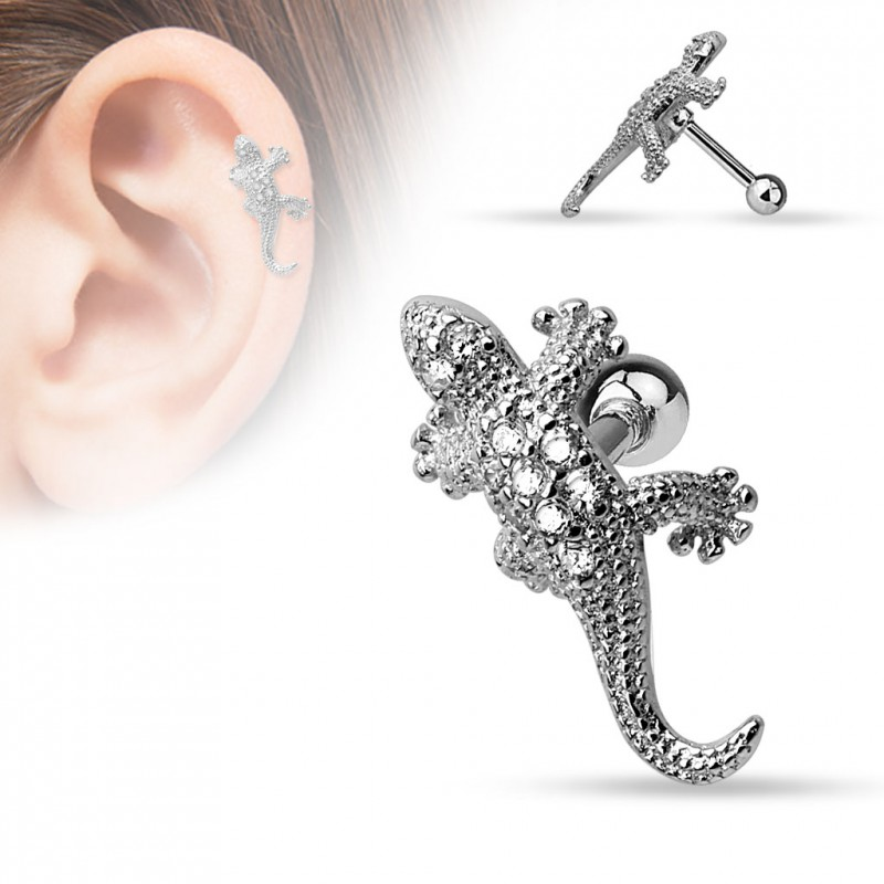 piercing oreille tragus helix avec un l zard lidaz 5 10. Black Bedroom Furniture Sets. Home Design Ideas