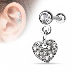 Piercing hélix pendentif coeur crystal blanc Ropy HEL037