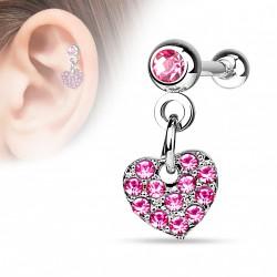 Piercing hélix pendentif coeur crystal rose Roxa HEL037