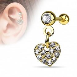Piercing hélix pendentif coeur doré et crystal blanc Roy HEL037