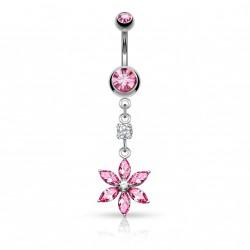 Piercing nombril pendentif fleur rose Dase NOM144