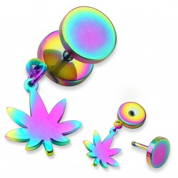 Faux piercing plug arc en ciel avec une feuille de cannabis Wap FAU197