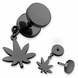 Faux piercing plug noir avec une feuille de cannabis Xaq FAU197