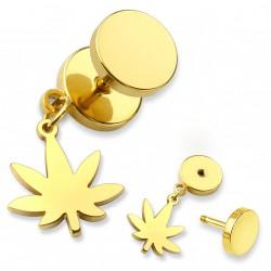 Faux piercing plug doré avec une feuille de cannabis Kaum FAU197