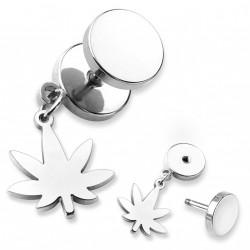 Faux piercing plug acier avec une feuille de cannabis Laz FAU197