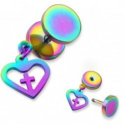 Faux piercing plug arc en ciel avec un coeur et une croix Hay FAU343