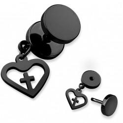 Faux piercing plug noir avec un coeur et une croix Gaty FAU343