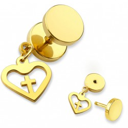 Faux piercing plug doré avec un coeur et une croix Gok FAU343