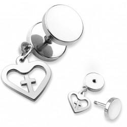 Faux piercing plug acier avec un coeur et une croix Guk FAU343