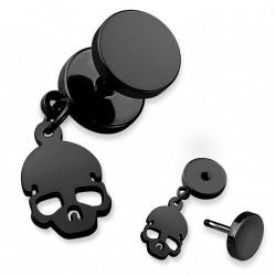 Faux piercing plug noir avec une tête de mort Hik FAU344