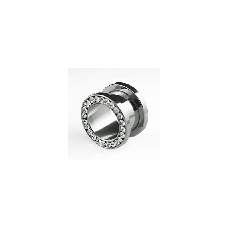 Piercing tunnel 5mm avec zirconiums blanc Third Piercing oreille5,49€