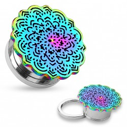 Piercing tunnel 12mm arc en ciel motif fleur tribal Mag PLU140