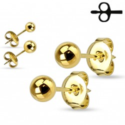 Puces d'oreilles boules doré de 5mm Cyuk PUC051