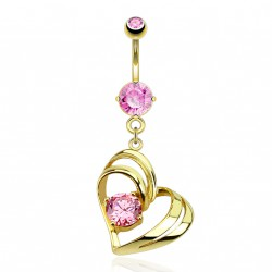 Piercing nombril cœur doré et zirconium rose Zaq Piercing nombril9,49 €