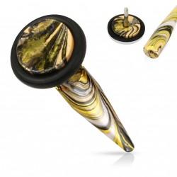 Faux piercing écarteur acier doré et noir Piky FAU346