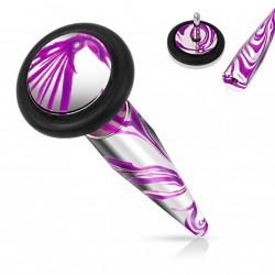 Faux piercing écarteur acier violet et rose Xop FAU346