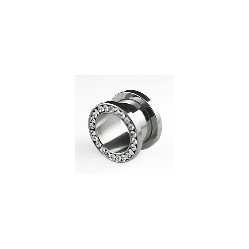 Piercing tunnel 14mm avec zirconiums blanc Lanonk Piercing oreille7,99€