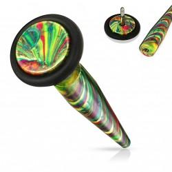 Faux piercing écarteur acier vert Pomij FAU346