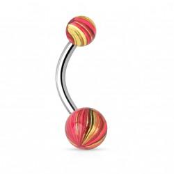 Piercing nombril boule acier doré et rose Vazi NOM099