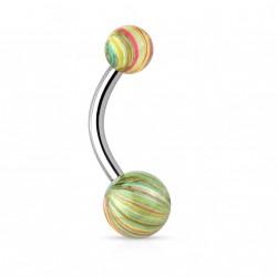 Piercing nombril boule acier vert Gako NOM099