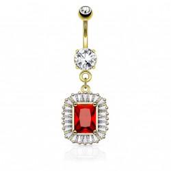 Piercing nombril doré square et zirconium rouge Rok NOM189