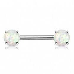 Piercing téton 14mm avec opalines blanche scintillante Tix TET021