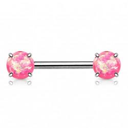 Piercing téton 14mm avec opalines rose scintillante Haug TET021