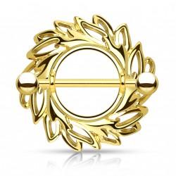 Piercing téton doré bouclier feuiles Xah TET037