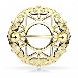 Piercing téton doré bouclier avec coeurs Pax TET086