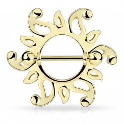 Piercing téton tribal doré bouclier avec un soleil Piwa TET088