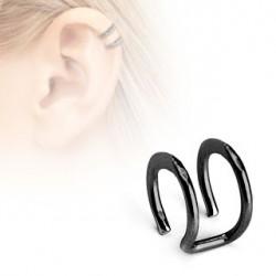 Faux piercing titanium double anneaux noir Ari FAU124