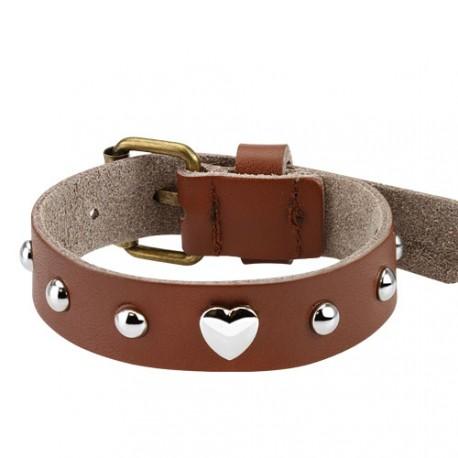 Bracelet en cuir marron avec un coeur Qomy BRA034