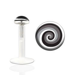 Piercing labret lévre 8mm avec une spirale noire et blanc Pan