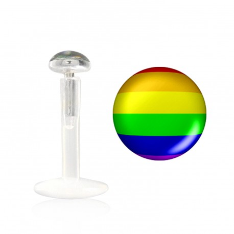 Piercing labret lévre 8mm gay pride Tulim LAB015