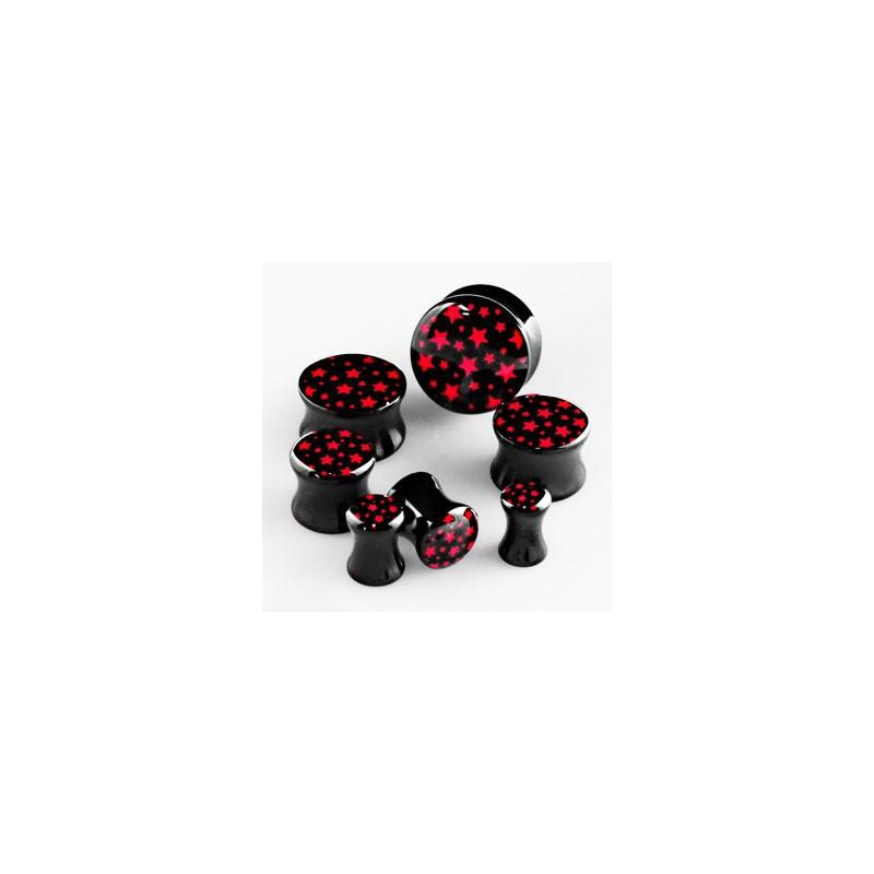 Piercing plug étoiles rouge 12mm Rayut Piercing oreille4,60€