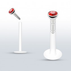 Piercing labret lèvre 6mm strass rouge Vulioz LAB077