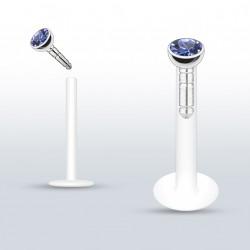 Piercing labret lèvre 10mm saphir clair Xaw LAB079