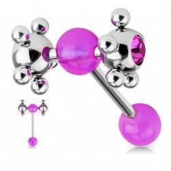 Piercing langue boules tournantes violet Gyko LAN086