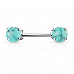 Piercing téton 12mm avec turquoises bleu Kylou TET089